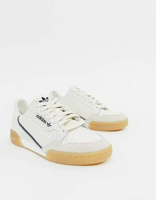 adidas Continental 80 Sneakers In White Snakeskin With Gum Sole