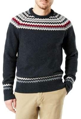 Dockers Chunky Fair Isle Crewneck Wool Sweater