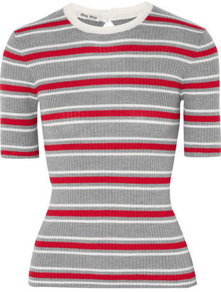 Miu Miu Striped Ribbed Wool Sweater - Gray
