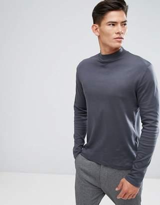 Kiomi High Neck Long Sleeve T-Shirt In Gray