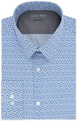Calvin Klein X Men's Extra-Slim Fit Thermal Stretch Performance Blue Print Dress Shirt