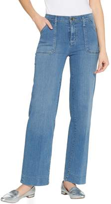 Isaac Mizrahi Live! TRUE DENIM Petite Wide Leg Cargo Jeans