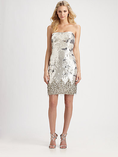 ABS Strapless Sequin Dress