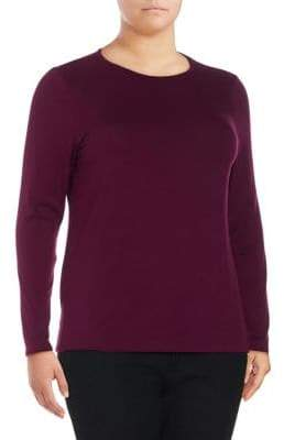 Lord & Taylor Plus Long-Sleeve Iconic Fit Crew Neck Tee