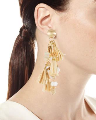 Neiman Marcus Akola Natural Cluster Raffia Tassel Drop Earrings