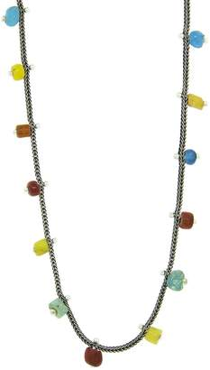 Ten Thousand Things Fine Silver Studded Ancient Bead Pale Chain Necklace