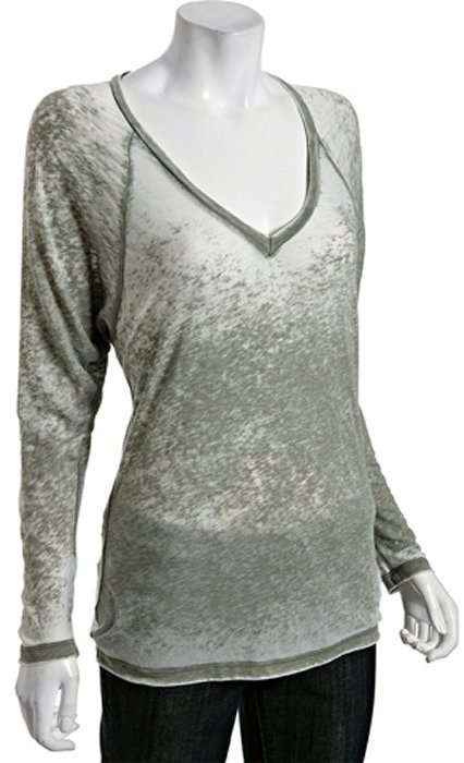 Vintage Havana olive burnout v-neck long sleeve t-shirt