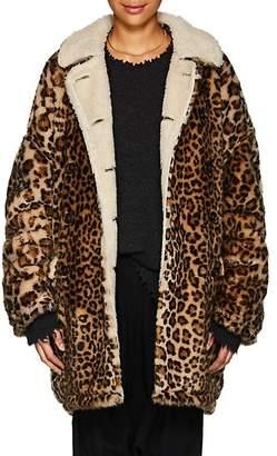 R 13 Women's Leopard-Print Faux-Fur Hunting Coat