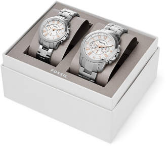 Fossil Grant Chronograph Stainless Steel Watch Box Set