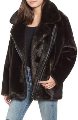 KENDALL + KYLIE Oversize Faux Mink Fur Moto Jacket