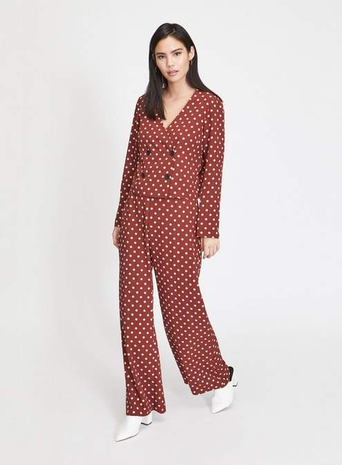 Chocolate spotted wide leg trousers
