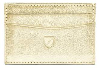Aspinal of London Slim Credit Card Case In Pale Gold Pebble