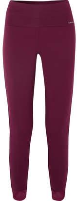 Calvin Klein Underwear Mesh-trimmed Stretch-modal Pajama Pants - Grape