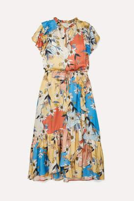 MUNTHE - Dilemma Ruffled Floral-print Satin Midi Dress - Orange