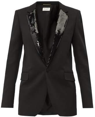 Saint Laurent Sequin Embellished Wool Blazer - Womens - Black