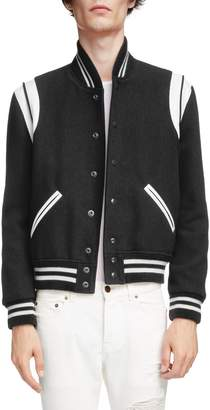 Saint Laurent Teddy Wool Varsity Jacket