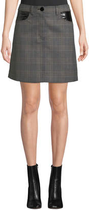 Derek Lam 10 Crosby Plaid Jean Mini Skirt with Faux-Leather Trim