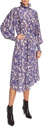 Etoile Isabel Marant Yescott Printed High-Neck Midi Dress