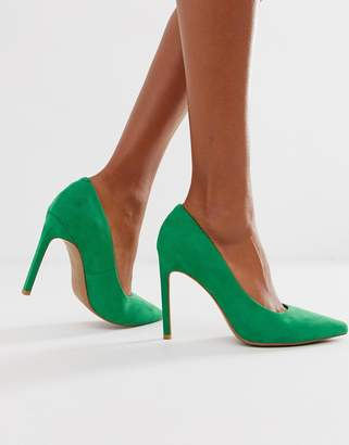 d7d8b9705c3 Asos Design DESIGN Porto pointed high heeled court shoes in emerald green