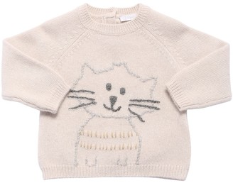 Il Gufo Cat Embroidered Wool Knit Sweater