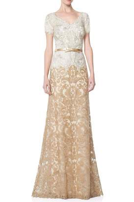 Tadashi Shoji Gold Lace Gown