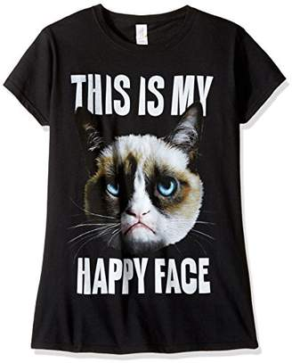 T-Line Juniors Grumpy Cat Happy Face Graphic Tee