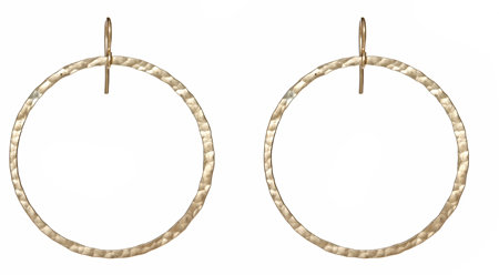 Sonya Renee Kristin Large Gold Hammered Hoops