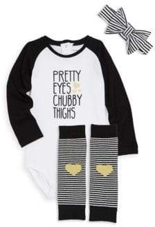 Petit Lem Baby Girl's Three-Piece Graphic Bodysuit, Headband and Socks Set