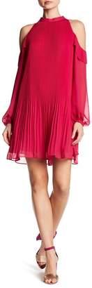 CeCe Noelle Cold Shoulder Accordion Pleat Dress