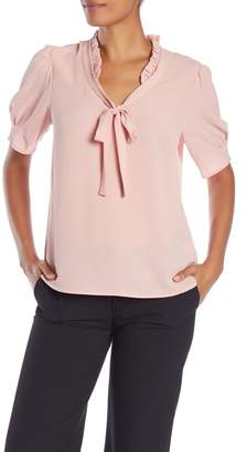 Cynthia Steffe CeCe by Ruffle V-Neck Bow Tie Top