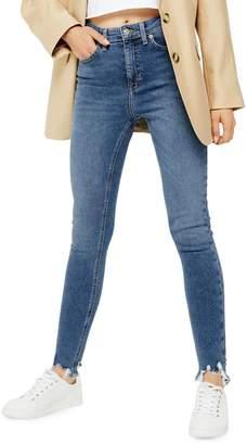 Topshop Mid Blue Jagged Hem Jamie Jeans 32-Inch Leg