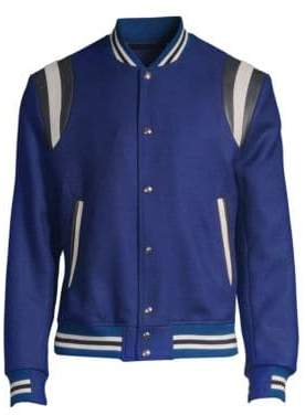 Paul Smith Men's Saturn Wool& Leather Varsity Jacket - Blue - Size Small