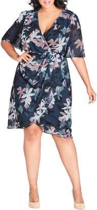 City Chic Luna Floral Print Twist Dress