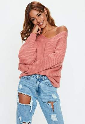 Missguided Burgundy V Neck Cropped Basic Sweater