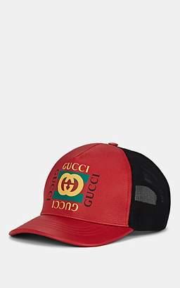 86ac67e5cdc Gucci Men s Logo Leather   Mesh Trucker Hat - Red