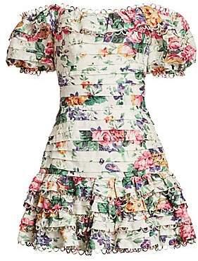 Zimmermann Women's Allia Off-The-Shoulder Pintuck Short Dress
