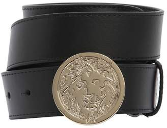 Versus 35mm Lion Buckle Smooth Leather Belt