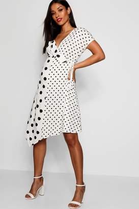 boohoo Maternity Polka Dot Frill Splicing Dress