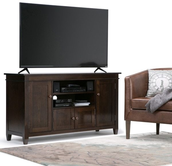 WYNDENHALL Sterling Collection Dark Tobacco Brown TV Stand for TV's up to 60 Inches