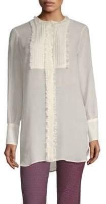 Etro Long-Sleeve Silk Sheer Ruffle Blouse