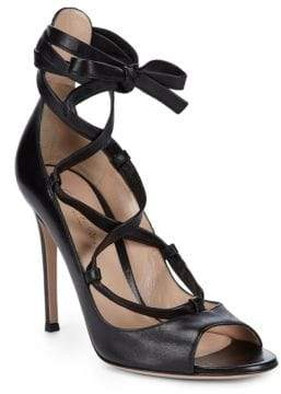 Gianvito Rossi Classic Leather Ankle Strap Sandals