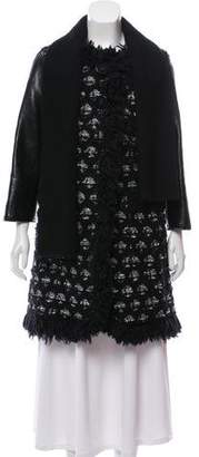 Marc Jacobs Leather-Trimmed Bouclé Coat