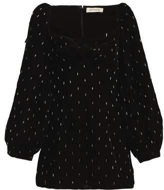 ATTICO Beaded Balloon Sleeve Velvet Dress - Womens - Black