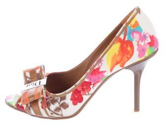 Christian Dior Woven Floral-Printed Pumps