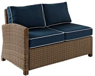 Crosley Bradenton Outdoor Wicker Sectional Left Corner Loveseat With Navy Cushions