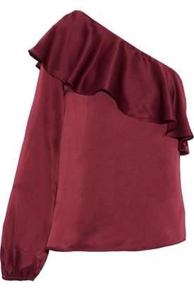 CAMI NYC Abigail One-Shoulder Ruffled Silk-Satin Blouse