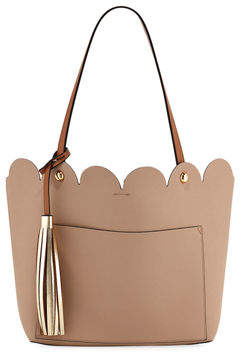 Neiman Marcus Louise Scalloped Tote Bag with Tassel
