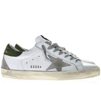 Golden Goose White Leather Superstar Sneakers With Grey And Green Suede Inserts