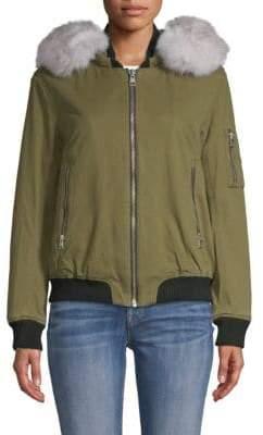 Soia & Kyo Branca Fox Fur-Trimmed Denim Bomber Jacket