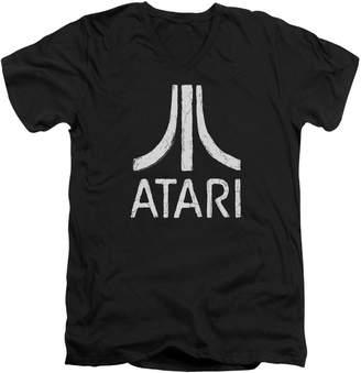 Atari Video Games Classic Logo Distressed Adult V-Neck T-Shirt Tee